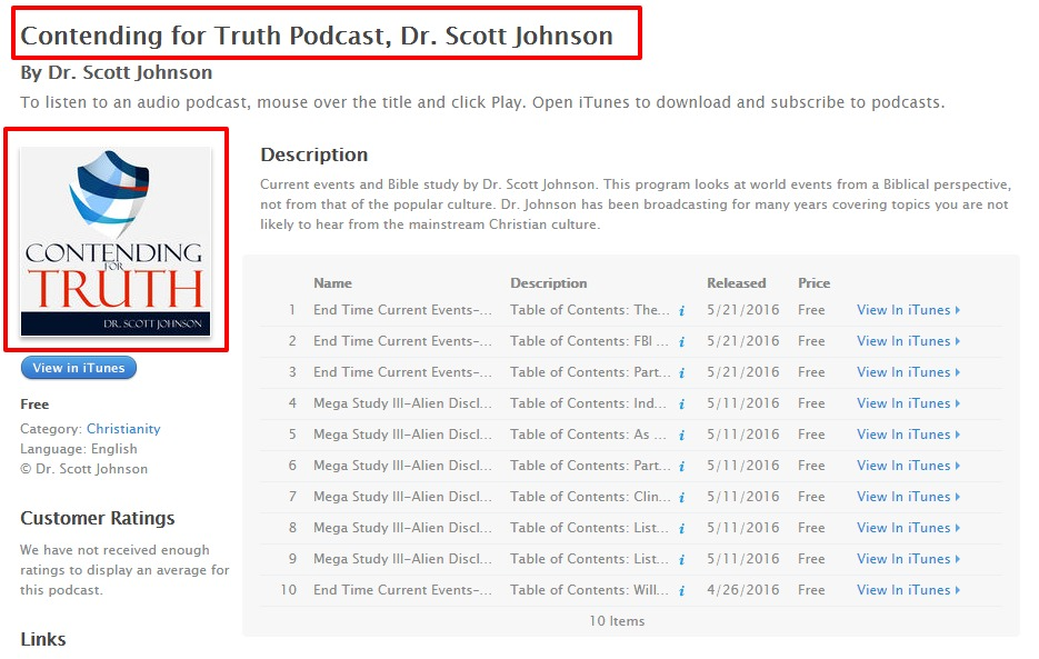 Contending for Truth Podcast Dr. Scott Johnson by Dr. Scott Johnson on iTunes